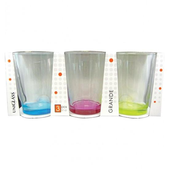 Σετ 3 ποτήρια νερού 51cl με χρωματιστό πάτο [70301057]