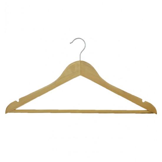 Ίσια ξύλινη κρεμάστρα ρούχων με καμπούρα [00501003]