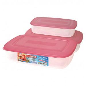 3 πλαστικά τάπερ-φαγητοδοχεία με καπάκι 70101538