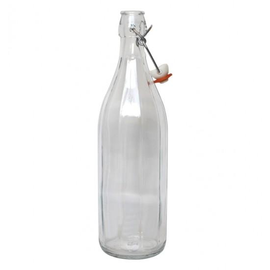 Γυάλινο μπουκάλι νερού 1 λίτρου Costolata με έλασμα [70101368]