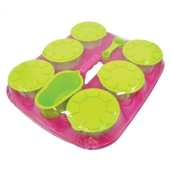 Σετ 6 πλαστικά στρογγυλά φαγητοδοχεία με δισκάκι [70607057]