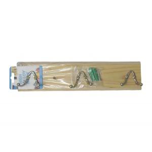 Ξύλινη κρεμάστρα τοίχου 3 θέσεων με διπλά γαντζάκια 00404223