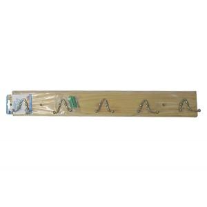 Ξύλινη κρεμάστρα τοίχου 5 θέσεων με διπλά γαντζάκια 00404225