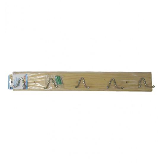 Ξύλινη κρεμάστρα τοίχου 5 θέσεων με διπλά γαντζάκια [00404225]