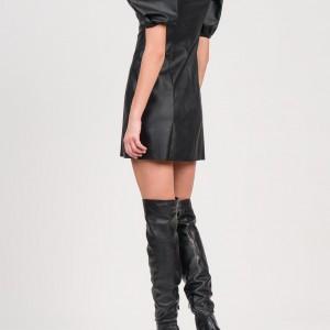 A20 Anel Φόρεμα δερμάτινο mini με φουσκωτά μανίκια