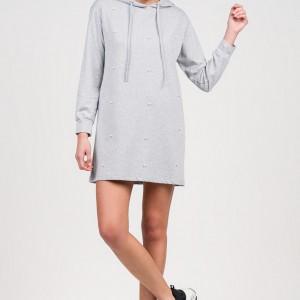 Α20 Anel mini φόρεμα με κουκούλα και πέρλα