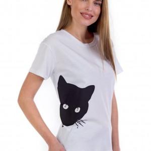 Κοντομάνικη βαμβακερή μπλούζα με σχέδιο