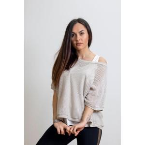 Γυναικεία Ιταλική πλεκτή διχτυωτή μπλούζα με λευκό τοπ