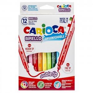 ΜΑΡΚΑΔΟΡΟΙ ΔΙΠΛΟΙ CARIOCA BIRELLO 2.6&4.7mm ΣΕΤ=12 ΧΡΩΜΑΤΑ  Carioca 41457