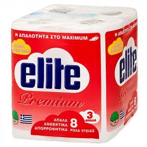 ΧΑΡΤΙ ΥΓΕΙΑΣ PREMIUM ELITE  ΠΑΚ=8 ΡΟΛΛΑ 75gr ELITE 1114  66001